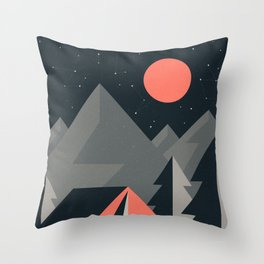 Retro Camping Throw Pillow