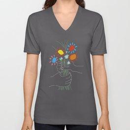 Bouquet - Picasso Line Art Unisex V-Neck
