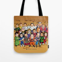 dbz Tote Bags featuring DBZ Mexican Voice Actors by Neokoi