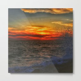 Waves and Sunset at Victoria Beach Metal Print