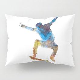 Man skateboard 01 in watercolor Pillow Sham