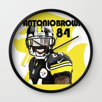 steelers Wall Clocks featuring Antonio Brown  by MikeHanz