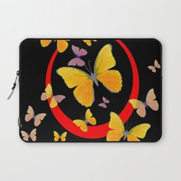 YELLOW BUTTERFLIES & RED RING  ABSTRACT ART Laptop Sleeve