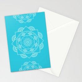 Mandala 01 - White on Turquoise Stationery Cards