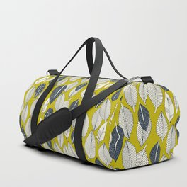 leaves and feathers chartreuse Duffle Bag
