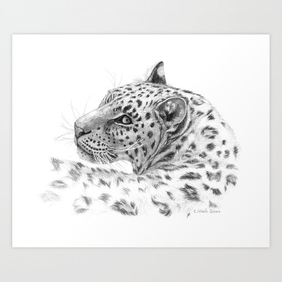 Leopard - Glance back Art Print
