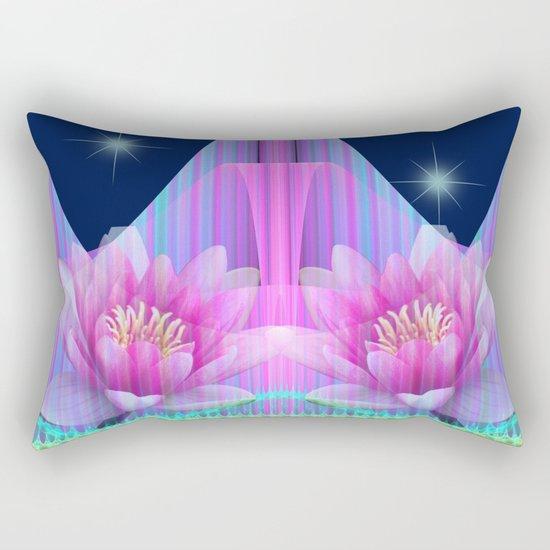 Magical night with Lotus flowers Rectangular Pillow