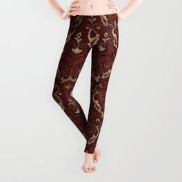 Persian Oriental Pattern - Red Leather and gold Leggings