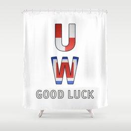 """U"" ""W"" Good Luck - Navy Alphabet - Leather Shower Curtain"