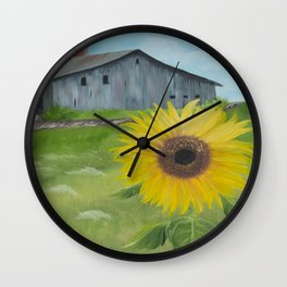 Sunflower with weathered barn Wall Clock