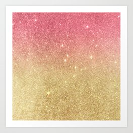 Pink abstract gold ombre glitter Art Print