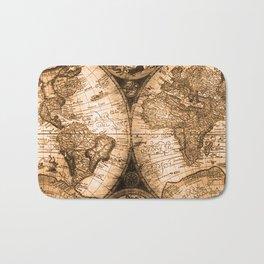 World Map Antique Vintage Maps Bath Mat
