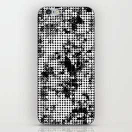 psychedelic circle pattern painting abstract background in black and white iPhone Skin