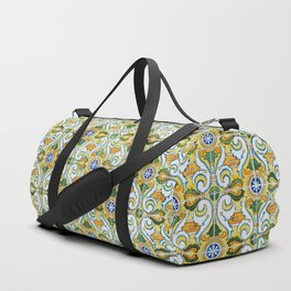 Seamless Floral Pattern Ornamental Tile Design : 9 yellow, green Duffle Bag