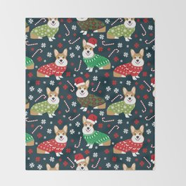 Corgi christmas sweater ugly sweater party with welsh corgis dog lovers dream christmas Throw Blanket