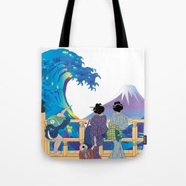Hokusai People Seeing Big Wave & Mt.Fuji Tote Bag