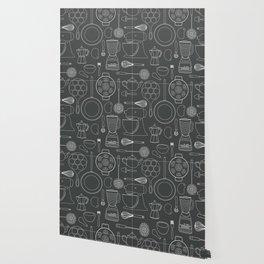 kitchen tools (white on black) Wallpaper