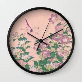 Dragonfly and Flowers Painting Vintage Art Wall Clock