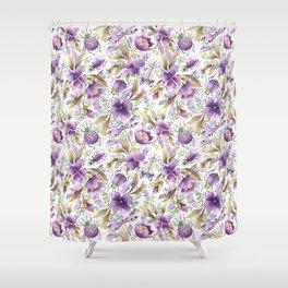 violet garden floral pattern Shower Curtain