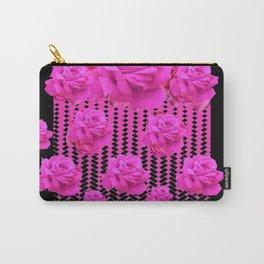 MODERN BLACK ART CERISE PINK ROSE GARDEN Carry-All Pouch