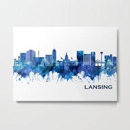 Lansing Michigan Skyline Blue Metal Print