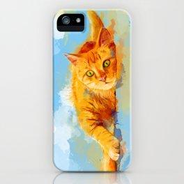 Cat Dream - orange tabby cat painting iPhone Case