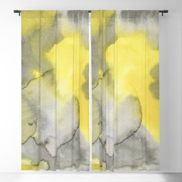 Hand painted gray yellow abstract watercolor pattern Blackout Curtain