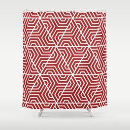 Firebrick - red - Geometric Seamless Triangles Pattern Shower Curtain