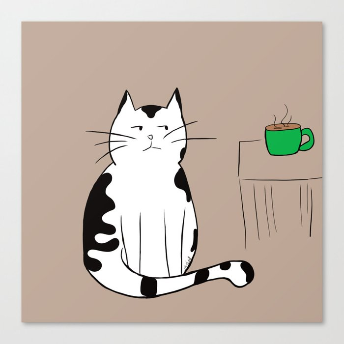 Java the Coffee Cat Canvas Print