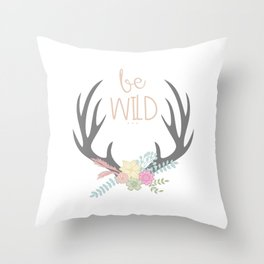 Be Brave Deer Antler Floral Wreath Throw Pillow