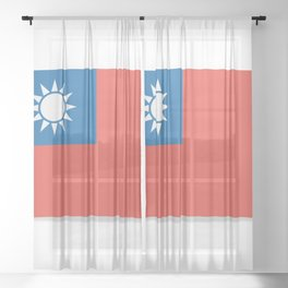 Flag of Taiwan.  The slit in the paper with shadows. Sheer Curtain