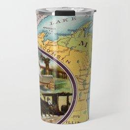 Vintage Michigan Map with Illustrations (1890) Travel Mug
