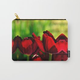 4 Ever Love -- Spring Botanical Ruby Red Tulips Carry-All Pouch