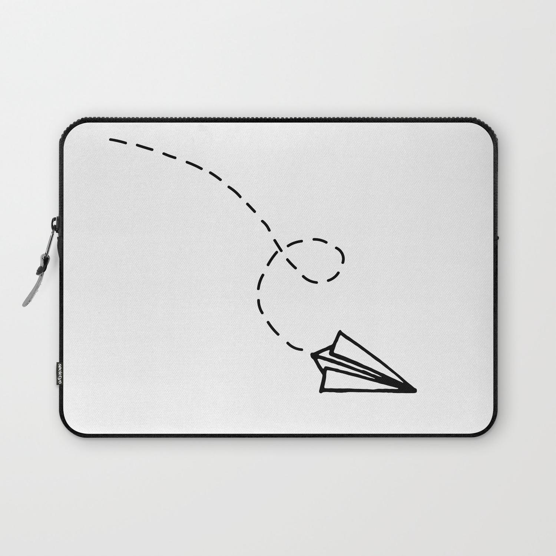 Send It Simple Paper Airplane Drawing Laptop Sleeve By