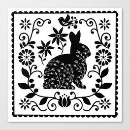 Woodland Folk Black And White Bunny Tile Canvas Print