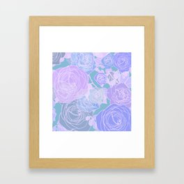 Preppy Purple and Seafoam Green Abstract Contemporary Romantic Roses Framed Art Print