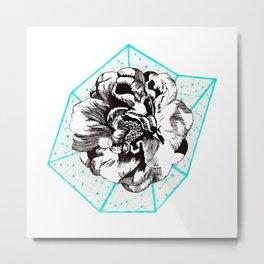 Teal + Flower Metal Print
