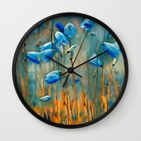 matty healy Wall Clocks featuring  Bluebells. by Mary Berg