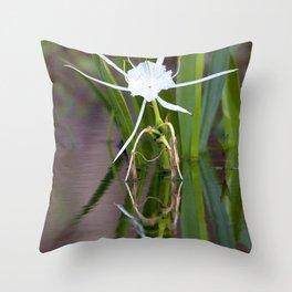 Watercolor Flower, Spider Lily 01, Ichetucknee Springs, Florida Throw Pillow