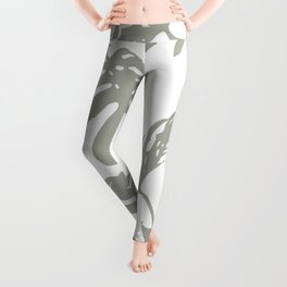 Simply Retro Gray Palm Leaves on White Leggings