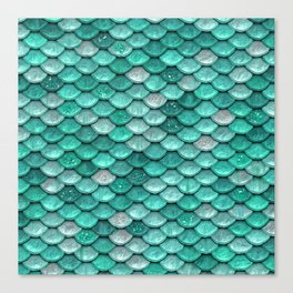 Aqua & mint mermaid glitter scales - Luxury Mermaid Scales Canvas Print