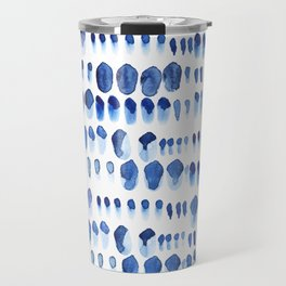 Indigo Watercolour Paint Splodges Travel Mug