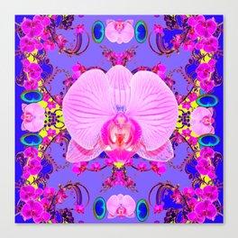 Purple Orchids Pattern Fantasy peacock eyes Art Pattern Art Design Canvas Print