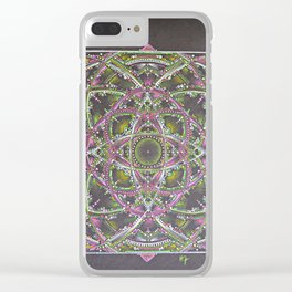 Green and Purple Mandala Clear iPhone Case