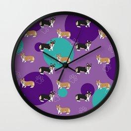 Corgi Pattern Purple Wall Clock