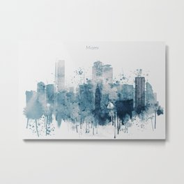 Blue Miami watercolor skyline design Metal Print
