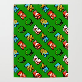 Final Fantasy (NES) pattern on green grass Poster