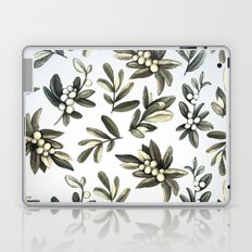 Pattern with mistletoe branches.  Watercolor Laptop & iPad Skin