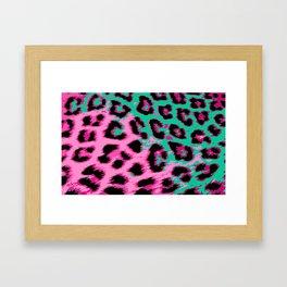 Hot Pink and Aqua Leopard Spots Framed Art Print