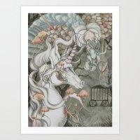 the last unicorn Art Prints featuring The Last Unicorn by Bonnie Johnson